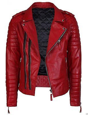 Awesome Jacket Leather Motorcycle New Men's Biker Genuine Black Lambskin  M49