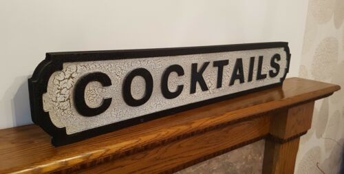 COCKTAILS Sign Cocktail Bar Street Road Sign Vintage Retro Style Home Bar Gift