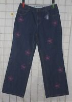 Size 14 Lands' End Adjustable Waist Jeans With Pink Embroidery Flowers
