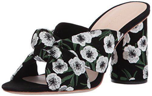 LOEFFLER RANDALL Donna Coco High Knot Slide (Suede/Embroidery) Heeled Sandal