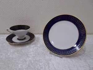 DDR-Design-Schierholz-Porzellan-Sammelgedeck-Vintage-um-1967-Echt-Kobalt
