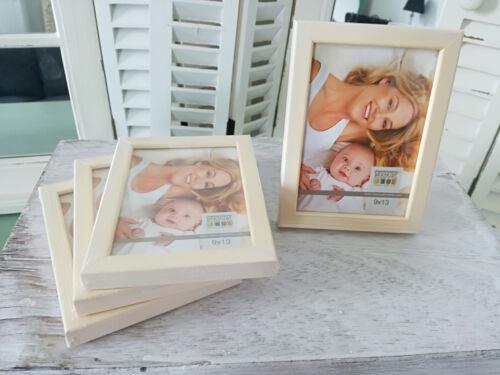 Foto Rahmen 9x13cm 4St im Set Bilderrahmen aus Holz Natur//Gold stehend//hängend