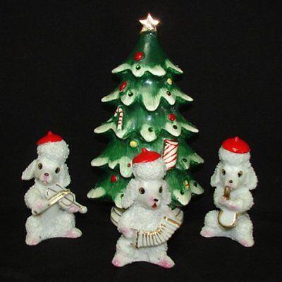 Vintage Lefton Christmas Tree & Boy Musical Instruments