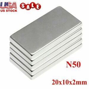 10-100X N50 Neodymium Block Magnet 20x10x2mm Super Strong Rare Earth Magnets Lot