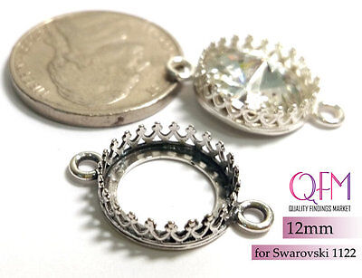 5 pcs Round Bezel Cup 10mm Sterling Silver 925 with 1 loop JBB Shiny or Antique