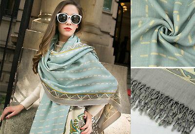 100% Lana Pasley Fiori Sciarpa Large Wool Floral Print Soft Scarf Shawl- Aiutare A Digerire Cibi Grassi