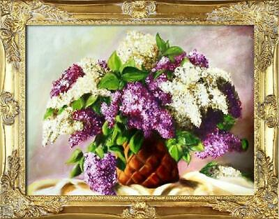 Flieder Blumen Ölgemälde Bild Bilder Gemälde Ölbilder Ölbild Mit Rahmen G94216