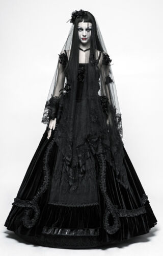 Voile de mariée mariage gothique baroque dentelle roses noire broderies PunkRave