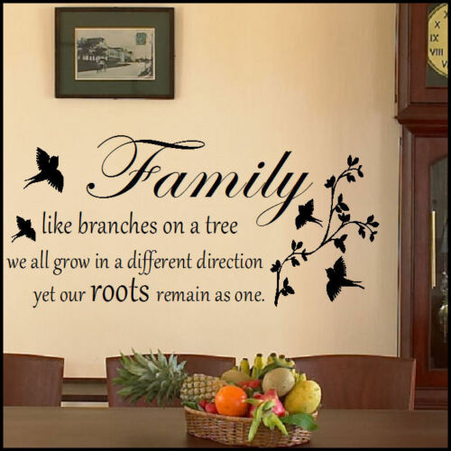 LARGE QUOTE FAMILY BRANCHES TREE REMAIN AS ONE WALL ART STICKER  DECAL TRANSFER