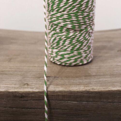 2 Mètres Vert//Blanc 1.5 Mm À Rayures Bunting 100/% Noël Coton String Ficelle