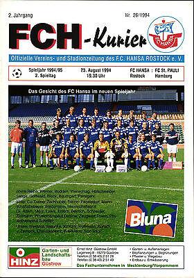 Ii Bl 94 95 Fc Hansa Rostock Fc St Pauli 23 08 1994 Ebay