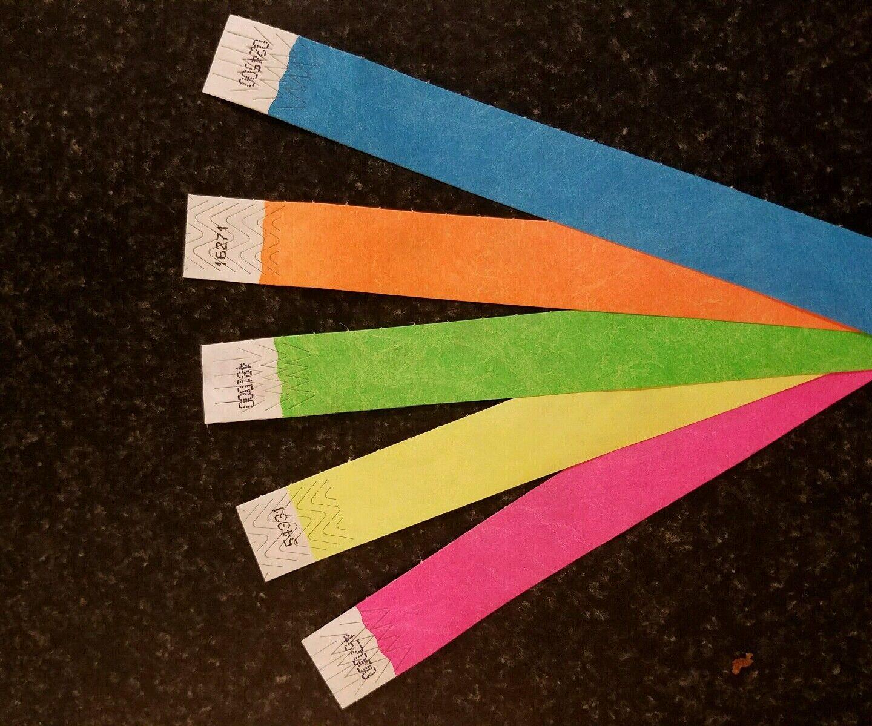 30,000 1  Tyvek Bracelets pour événements, 5 couleurs assorties, papier Bracelets