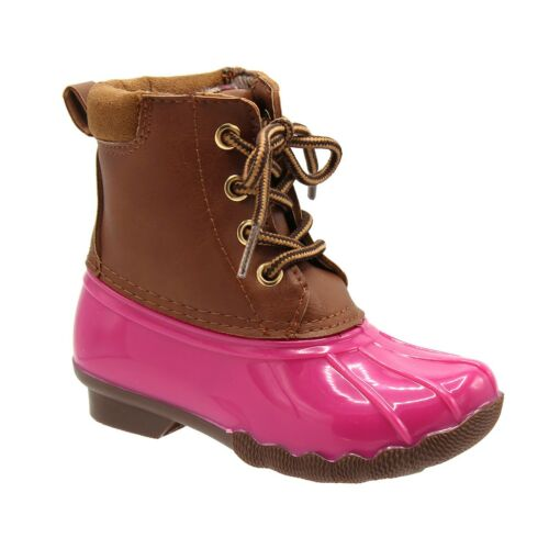 Gavin-17K Duck Girls and Boys Lace Up Two Tone Combat Style Rain Duck Boots