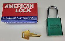 American Lock Padlock 1100 Series Master Lock 1 Key Green All Keyed Alike 43857