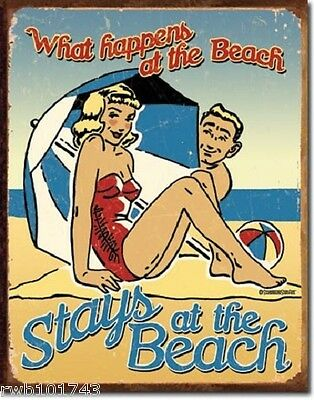 What Happens at the Beach Stays TIN SIGN rustic vtg coastal cottage decor 1711