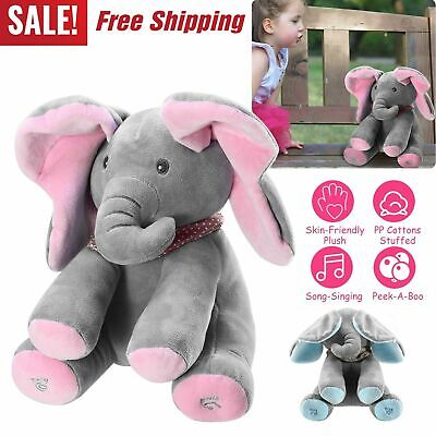 Peek-a-Boo Animated Talking Singing Plush Elephant Stuffed Doll Toy for Baby Kid