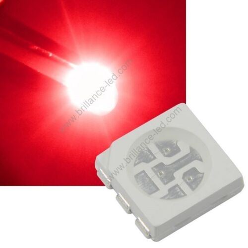 red smd haute luminosité 20x Led CMS SMD 5050 Rouge à souder PLCC-6