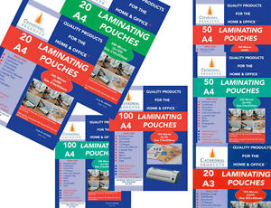A4 or A3 150 / 250 Micron Laminating Pouches Sheets in 20 / 50 / 100 Packs