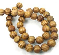 "12mm Natural Wood Round Rocaille Beads 16""  3mm hole"
