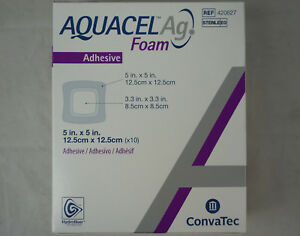 Box Of 10 Convatec Aquacel Ag 420627 Adhesive Hydrofiber Foam