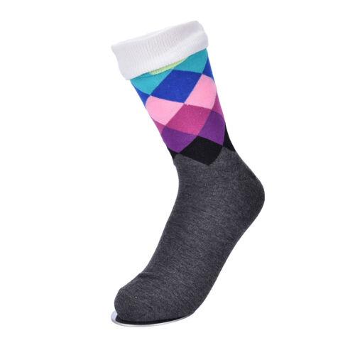 British Style Plaid Gradient Color elite long cotton socks rhombi happy sock RS