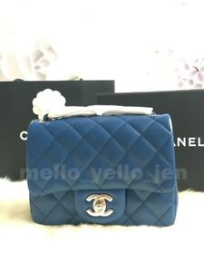 0f2ef5cd5cf5 NEW Chanel 18C Mini Flap Blue Navy Quilted Lambskin Lt Gold HW ...