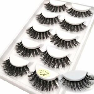 5PAIRS-3D-Mink-False-Eyelashes-Wispy-Cross-Long-Thick-Soft-Fake-Eye-Lashes-UK-BW