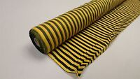 """Black & Yellow 1 Meter x 46"""" Wide Rich Poly Cotton Striped Craft Fabric"""