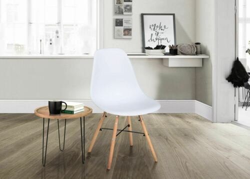 Birlea Hex 2 White Dining Chair Scandinavian Modern Retro Design Pair Wood