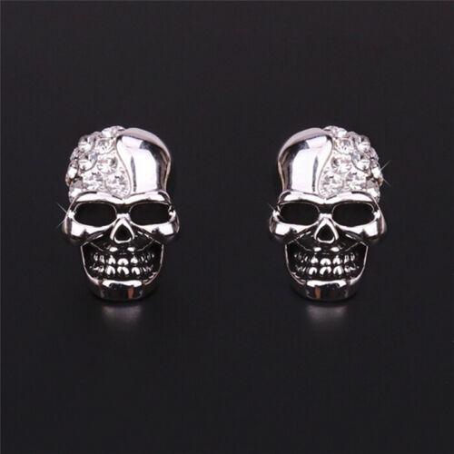 Women Lady Gold//Silver Tone Crystal Diamond Skull Pierced Stud Earrings Jewelry√