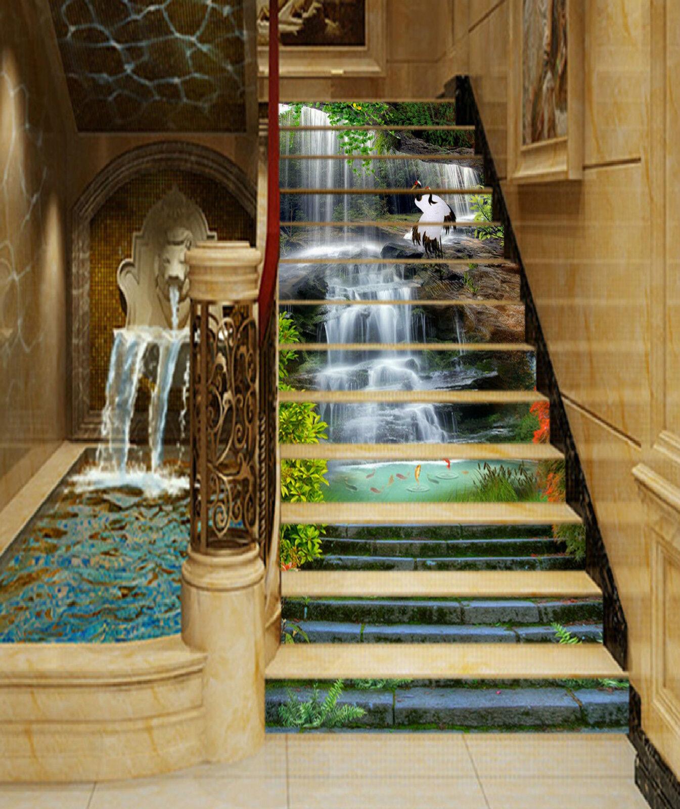 3D Fluss Strom 239 Stair Risers Dekoration Fototapete Vinyl Aufkleber Tapete DE