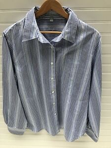 5592d6956 Foxcroft Womens Wrinkle Free Shaped Fit Button Down Shirt 14 Striped ...