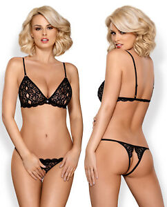 OBSESSIVE Miamor Luxury Quarter Cup Padded Underwired Bra and Matching Thong Set