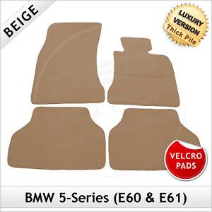 BMW-5-Series-E60-E61-2003-2010-Velcro-Pads-Tailored-LUX-1300g-Carpet-Mats-BEIGE