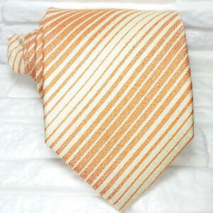 Cravatta-arancione-Uomo-Nuova-100-seta-Top-quality-Made-in-Italy-marca-Morgana