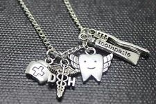Dental Hygienist Necklace Brush Silver Nurse Hat Angle Wings Teeth Toothpaste