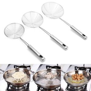 Details About Stainless Steel Solid Spider Strainer Skimmer Ladle With  Handle Kitchen Tool