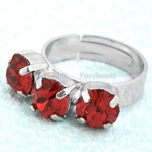 1pc-Red-Rhinestone-Crystal-Three-Stone-Cocktail-Finger-Ring-US7-Adjustable-EY