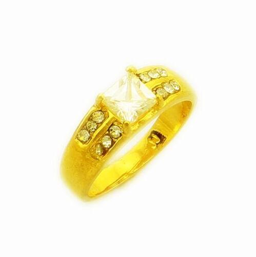 24K Yellow Gold GP White Zircon Hot Selling Men Women Band Ring #7-#10 GjR025