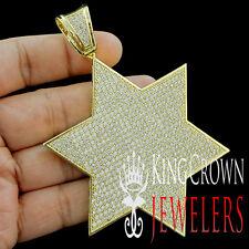Yellow Gold Finish Lab Diamond Jewish Symbol Star Of David Custom Pendant Charm