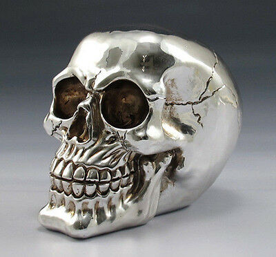 "CHROME PLATED RESIN SILVER SKULL FIGURINE STATUE SCULPTURE HALLOWEEN 6"" LENGTH"