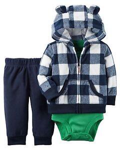 63c546c03 Carters Baby Boy 3-Piece Little Jacket Set - Blue Plaid Jacket NWT ...