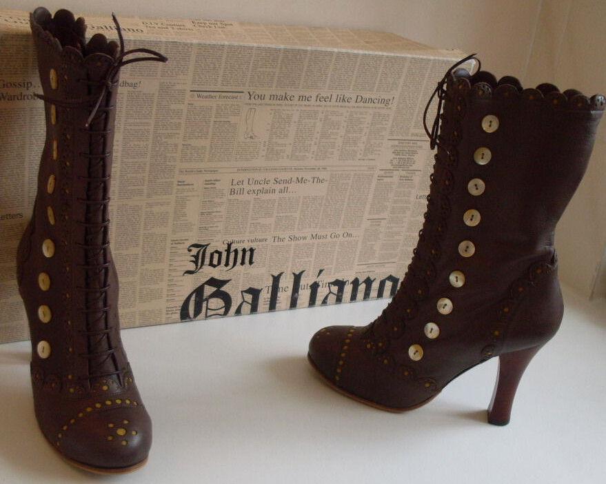 JOHN GALLIANO Designer Leather Victorian Ankle Boots Size UK 5 EU 38 US 7