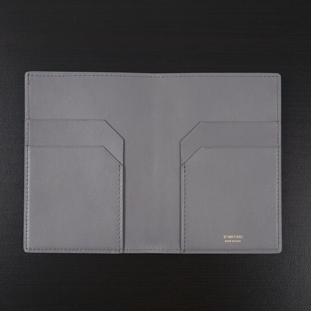 Tom Ford Light Gray Leather Passport Case with Card Holder New