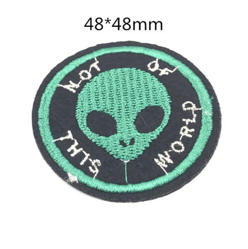 2PC Embroidered Fabric Patches Sew Iron On Badge Hat Bag Clothes Applique Craft