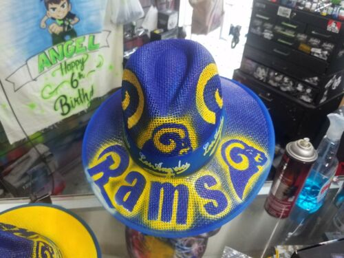 Completely Airbrush Los Angeles Rams Panama Fedora Style Straw Hat