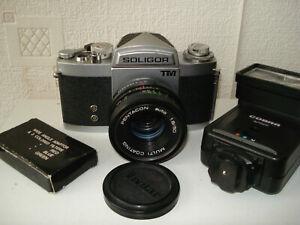 Soligor-Miranda-TM-classic-M42-35mm-SLR-camera-c-w-50mm-lens-amp-flash-Nice