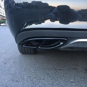 Schwarz-Edelstahl-Auspuffblende-Auspuff-Abdeckung-fuer-Mercedes-W177-W205-W213