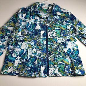 Drapers-amp-Damon-Women-Long-Sleeve-Full-Zipper-Jacket-1X-Plus-Blue-White-Yellow