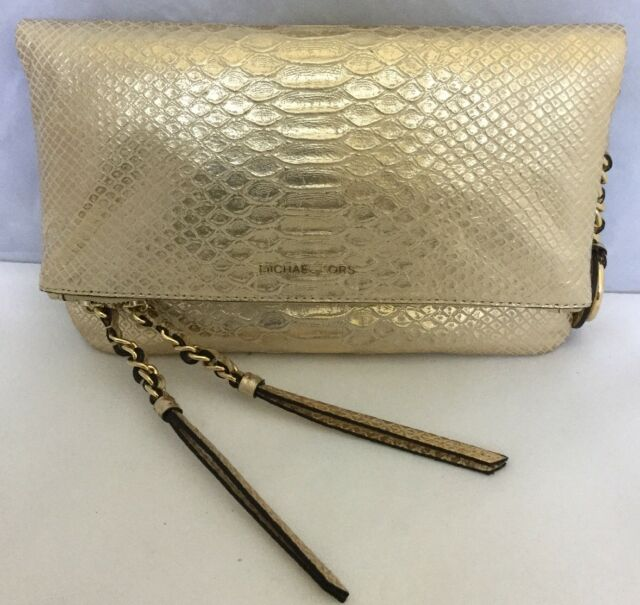 d1f2b3b2a36e Michael Kors Corinne Leather Medium Messenger Light Pale Gold Bag/Purse $298